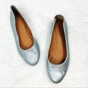J.Crew Metallic Silver Bow Flats Shoes size 8.5